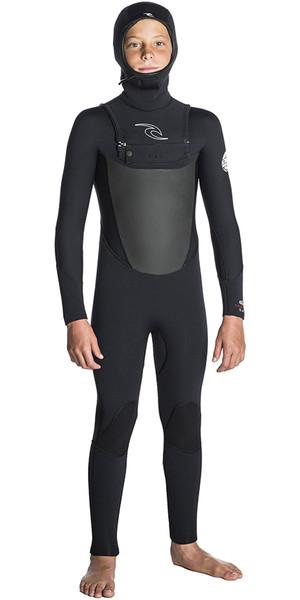 2018 Rip Curl Junior Dawn Patrol 5/4 Chest Zip Hooded Wetsuit BLACK WSM7HB