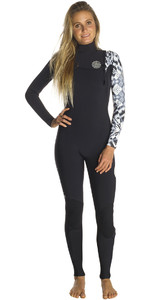 Rip Curl Womens G-Bomb 4/3mm GBS Zip Free Wetsuit BLACK / WHITE WSM7IG