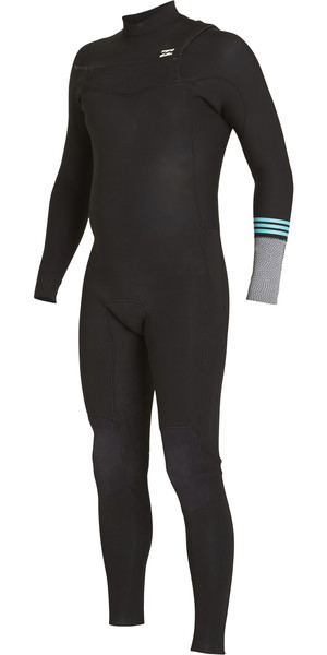 2018 Billabong Boys Revolution Tribong 4/3mm Chest Zip Wetsuit BLACK 2 F44B12