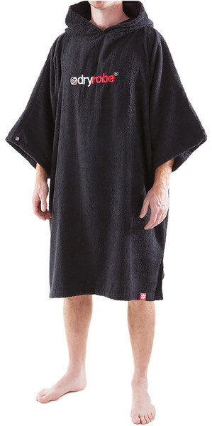 2018 Dryrobe Short Sleeve Towel Change Robe / Poncho - MEDIUM in Black