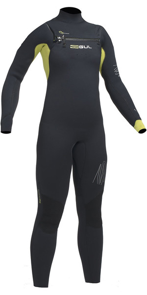 2018 Gul Response Junior 5/4mm Chest Zip Wetsuit BLACK / LIME RE1251-B1