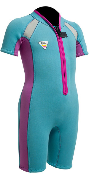 Gul SeaSpray Toddler 3/2mm Flatlock Shorty SS3301 Turquoise / Pink - 2ND
