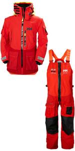2019 Helly Hansen Aegir Ocean Jacket 30335 & Trouser 36269 Combi Set Alert Red