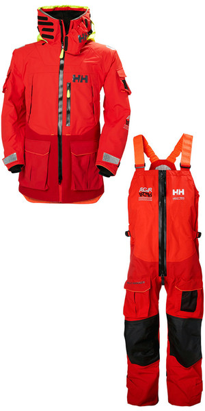 2019 Helly Hansen Aegir Ocean Jacket 30335 & Trouser 36269 Combi Set Alert Red