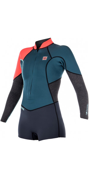 Mystic Diva 3/2mm Long Sleeve Front Zip Shorty Wetsuit TEAL 170267