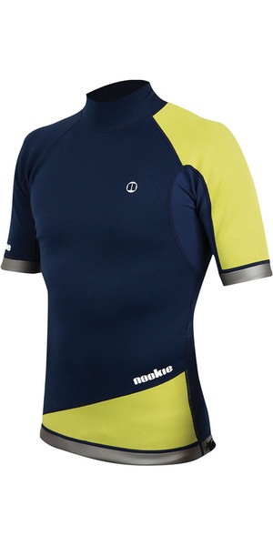2018 Nookie Ti 1mm Neoprene Short Sleeve Vest Top Navy / Yellow NE03