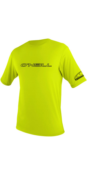 2018 O'Neill Basic Skins Short Sleeve Rash Tee LIME 3402