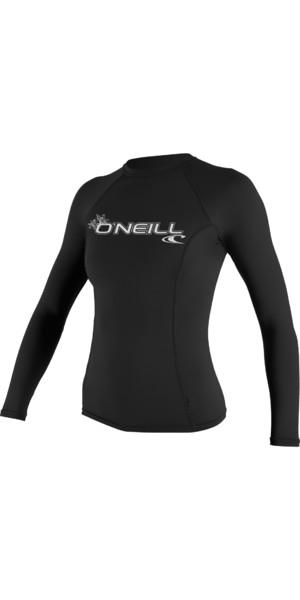 2018 O'Neill Ladies Basic Skins Long Sleeve Crew Rash Vest BLACK 3549