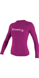 2019 O'Neill Womens Basic Skins Long Sleeve Crew Rash Vest FOX PINK 3549