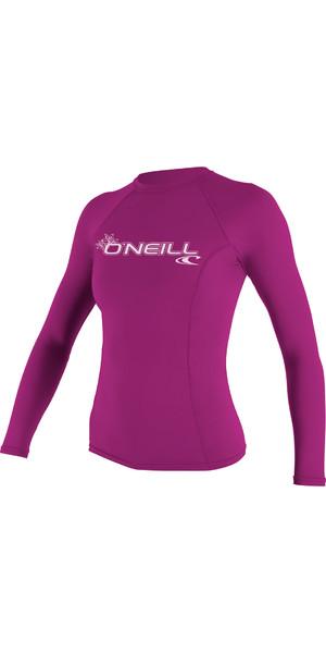 2019 O'Neill Womens Basic Skins Long Sleeve Crew Rash Vest FOX PINK 3549