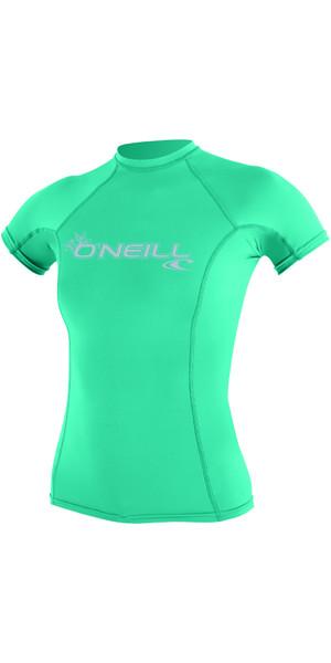 2018 O'Neill Ladies Basic Skins Short Sleeve Crew Rash Vest SEAGLASS 3548