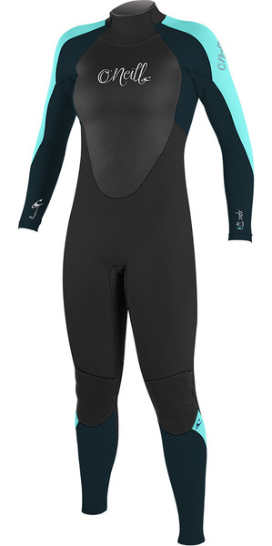 2018 O'Neill Ladies Epic 5/4mm Back Zip GBS Wetsuit BLACK / SEAGLASS 4218