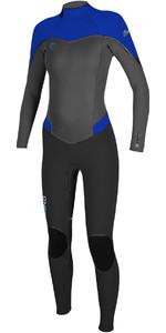2018 O'Neill Womens Flair 4/3mm Back Zip Wetsuit BLACK / GRAPH / TAHITIAN BLUE 4766