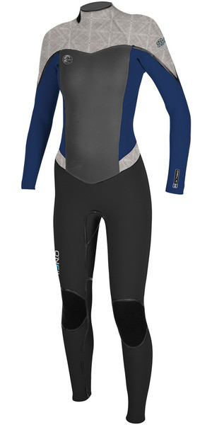 2018 O'Neill Ladies Flair 5/4mm Back Zip Wetsuit BLACK / NAVY / VIDA 4817