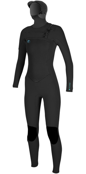 2018 O'Neill Womens O'Riginal 6/5/4mm Hooded Chest Zip Wetsuit BLACK 4998