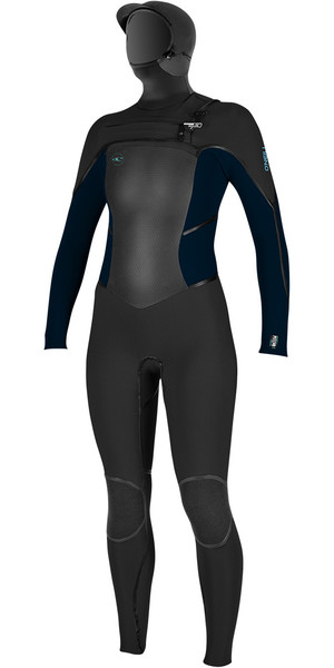 2018 O'Neill Ladies Psycho Tech 6/4mm Hooded Chest Zip Wetsuit BLACK / SLATE 4990