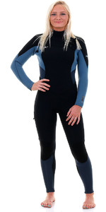 O'Neill Womens Supertech 4/3mm Chest Zip GBS Wetsuit Black / Dusty Blue / Slate 4855