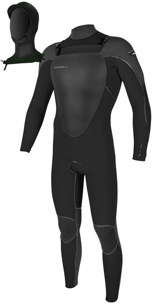2018 O'Neill Mutant 5/4mm Hooded Chest Zip Wetsuit BLACK / GRAPHITE 4762