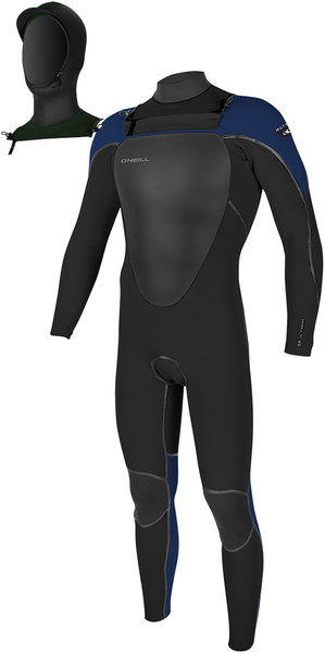 2018 O'Neill Mutant 5/4mm Hooded Chest Zip Wetsuit BLACK / NAVY 4762