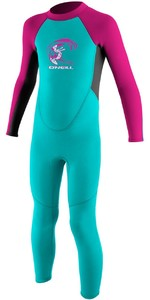 2019 O'Neill Toddler Reactor 2mm Back Zip Wetsuit AQUA / BERRY 4868