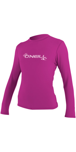 2018 O'Neill Ladies Basic Skins Long Sleeve Rash Tee FOX PINK 4340