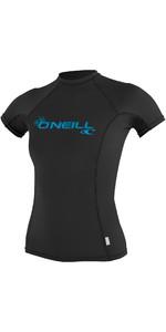2019 O'Neill Womens Basic Skins Short Sleeve Crew Rash Vest BLACK 3548