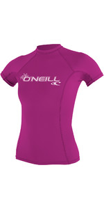 2019 O'Neill Womens Basic Skins Short Sleeve Crew Rash Vest FOX PINK 3548