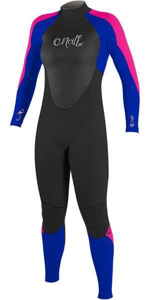2018 O'Neill Youth Girls Epic 5/4mm Back Zip GBS Wetsuit BLACK / BLUE / BERRY 4219G