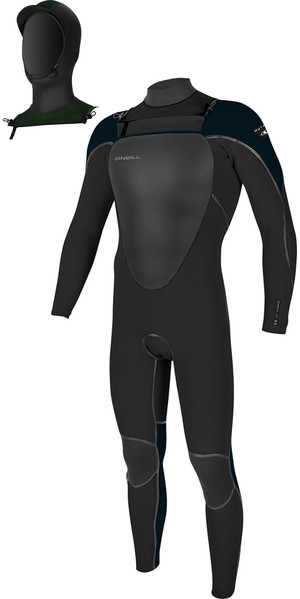 2018 O'Neill Youth Mutant 5/4/3mm Hooded Chest Zip Wetsuit BLACK / SLATE 4969