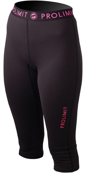 Prolimit Ladies SUP Athletic 3/4 Length Quick Dry Trousers Black / Pink 74765