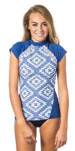 Rip Curl Womens Del Sol Short Sleeve CS Rash Vest BLUE WLUKF4