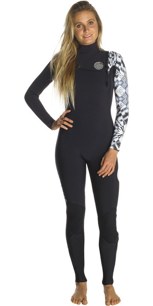 2018 Rip Curl Womens G-Bomb 5/3mm GBS Zip Free Wetsuit BLACK / WHITE WSM7JG