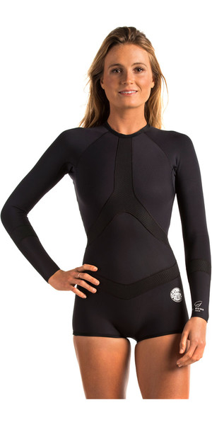 Rip Curl Womens Madi 1mm Long Sleeve Boyleg Shorty Wetsuit Black WSP6DW