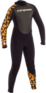 2019 Typhoon Junior Storm 5mm Wetsuit Black / Orange Print 250604