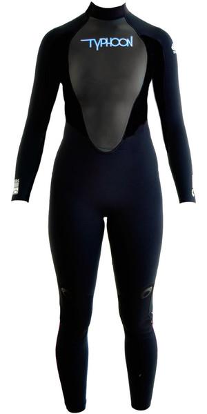 2019 Typhoon Womens Storm 5/4/3mm GBS Wetsuit Black / Blue Logo 250691