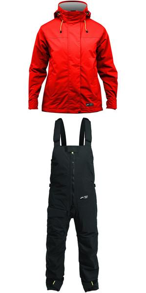 2019 Zhik Kiama Womens Harbour & Inshore Jacket J101W & Trouser TR101 Combi Set Flame Red / Black