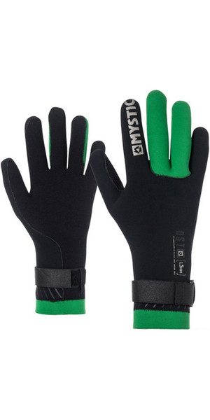 2019 Mystic Merino Wool 1.5mm GBS Neo Kitesurfing Glove Black / Green 170145