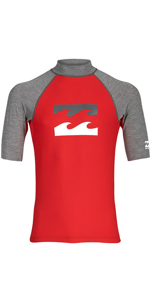 2018 Billabong Junior Team Wave Short Sleeve Rash Vest RED H4KY03