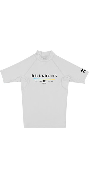 2018 Billabong Junior Unity Short Sleeve Rash Vest WHITE H4KY01