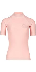 Billabong Womens Logo Colour Short Sleeve Rash Vest BLUSH H4GY07