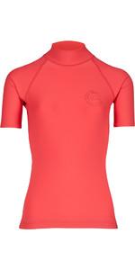 Billabong Womens Logo Colour Short Sleeve Rash Vest PASSION FRUIT H4GY07