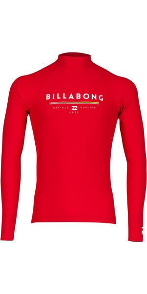 2018 Billabong Unity Long Sleeve Rash Vest RED H4MY02