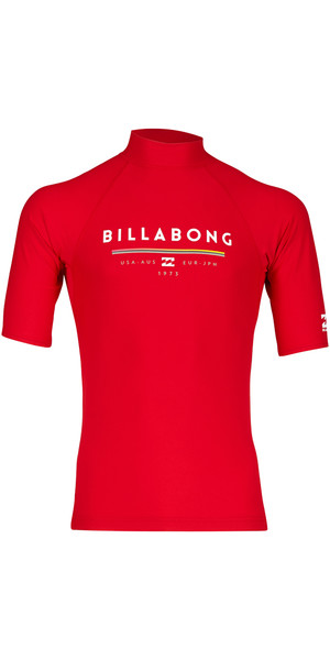 2018 Billabong Unity Short Sleeve Rash Vest RED H4MY01