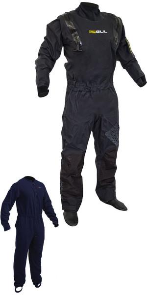 2019 Gul Code Zero Stretch U-Zip Drysuit Black GM0368-B5 INCLUDING UNDERFLEECE