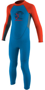 2019 O'Neill Toddler Reactor 2mm Back Zip Wetsuit BLUE / NEON RED 4868