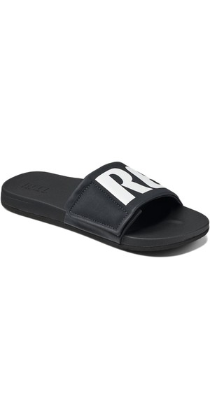 2018 Reef Mens Cushion Bounce Slide Flip Flops Black / White RF0A3OL5BIO