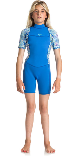 2018 Roxy Junior Girls Syncro Series 2mm Flatlock Shorty Wetsuit SEA BLUE II ERGW503004