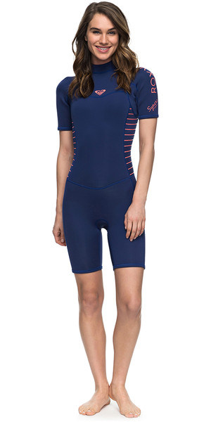 2018 Roxy Womens Syncro Series 2mm Back Zip Shorty Wetsuit NAVY ERJW503007