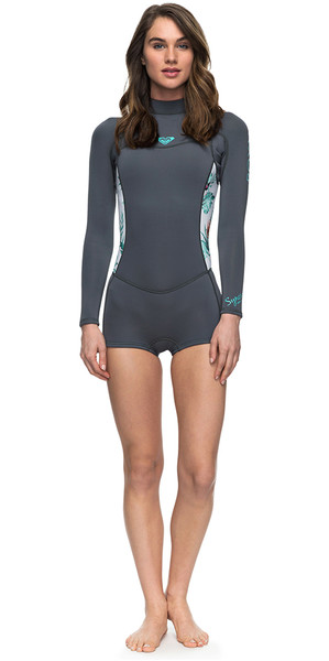 2018 Roxy Womens Syncro Series 2mm Long Sleeve Back Zip Spring Shorty ASH / PISTACCIO ERJW403014