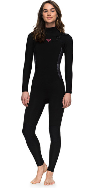 2018 Roxy Womens Syncro Series 4/3mm GBS Chest Zip Wetsuit BLACK ERJW103022